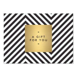 Retro Black and White Pattern Gold Name Gift Cert 11 Cm X 16 Cm Invitation Card
