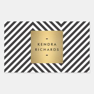 Retro Black and White Pattern Gold Name Sticker