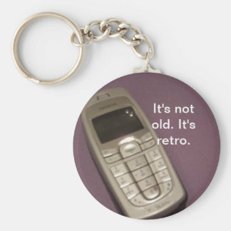Retro Cell Phone Basic Round Button Key Ring