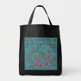 Retro Floral Peacock Reusable Black Grocery Tote Bag