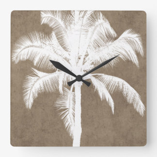 Retro Hawaiian Tropical Palm Tree Silhouette White Clocks