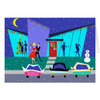 Retro Holiday Cartoon Christmas Card