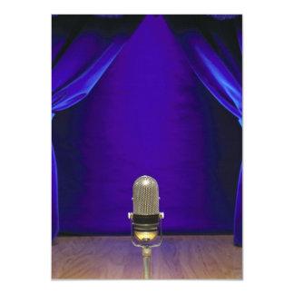 Retro Microphone On Stage 11 Cm X 16 Cm Invitation Card