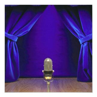 Retro Microphone On Stage 13 Cm X 13 Cm Square Invitation Card
