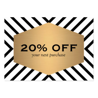 Retro Mod Black White Pattern Gold Emblem Coupon Pack Of Chubby Business Cards