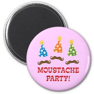 Retro Moustache Party 6 Cm Round Magnet