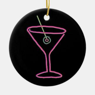 Retro Neon Martini Happy Hour Ornament
