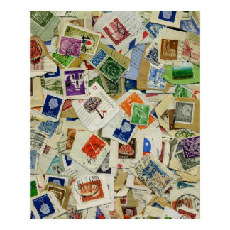 Retro Postage Stamp Collage Collection Poster