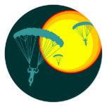 retro skydivers 13 cm x 13 cm square invitation card
