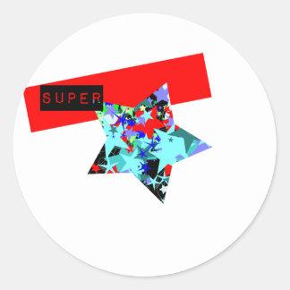 Retro Superstar In Day-Glo Round Sticker