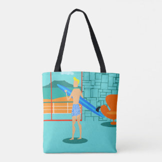 Retro Surfer Dude All-Over Print Tote Bag