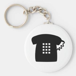 Retro Telephone Basic Round Button Key Ring