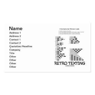 Retro Texting (International Morse Code) Pack Of Standard Business Cards