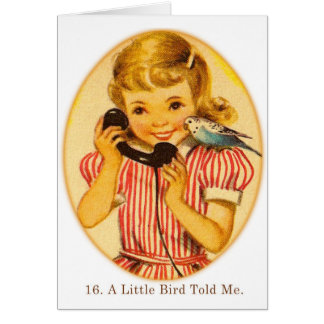 Retro Vintage Kitsch Kids A Little Bird Told Me Greeting Card