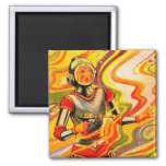 Retro Vintage Sci Fi Kitsch Space Girl Square Magnet