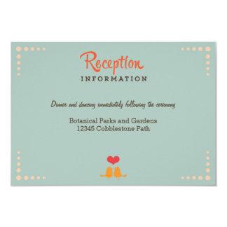 Retro Vinyl Record Orange Sky Blue Wedding Insert 9 Cm X 13 Cm Invitation Card
