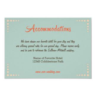 Retro Vinyl Record Sky Blue Wedding Accommodations 9 Cm X 13 Cm Invitation Card