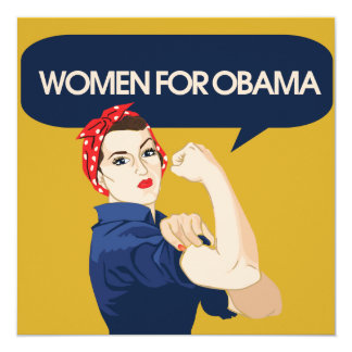 Retro Women for Obama 13 Cm X 13 Cm Square Invitation Card