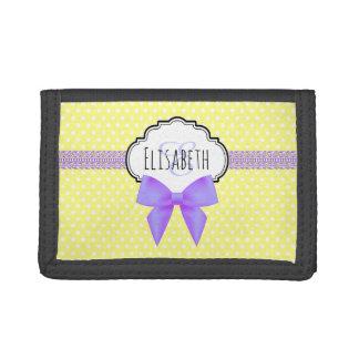 Retro yellow polka dot pink bow monogram trifold wallet