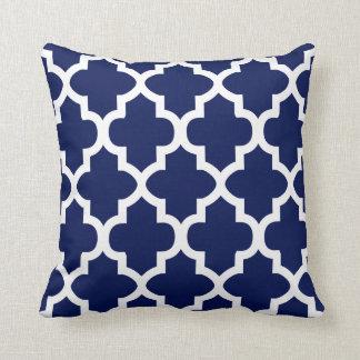 Rich Navy Blue and White Quatrefoil Pattern Cushion