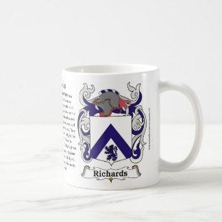 Richards Family Crest including the History and Me Basic White Mug