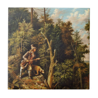 Rip Van Winkle with His Hound Small Square Tile