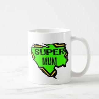 Ripped Star Super mum- Black Text/ Green/Yellow Basic White Mug