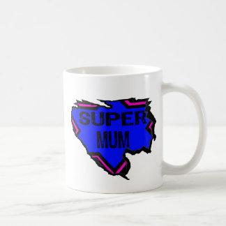 Ripped Star Super Mum - Black Text/ Pink/Purple Basic White Mug