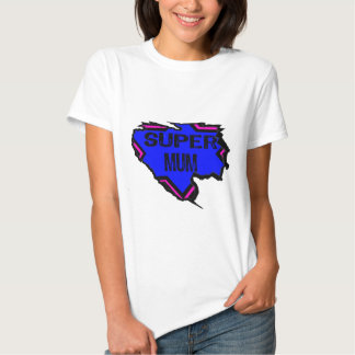 Ripped Star Super Mum - Black Text/ Pink/Purple Tee Shirt