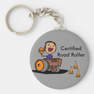 Road Construction Worker Basic Round Button Key Ring