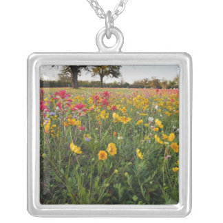 Roadside wildflowers in Texas, spring Square Pendant Necklace
