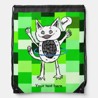 roar monster ZAZZLE BACK GROUND GREEN SQUARES 3.pn Drawstring Bag