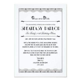 Roaring 20's Speakeasy Theme Party Invitations