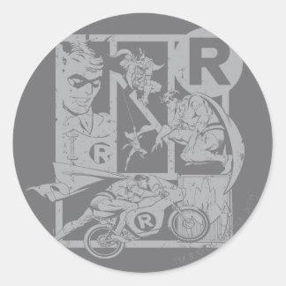 Robin - Picto Grey Round Sticker