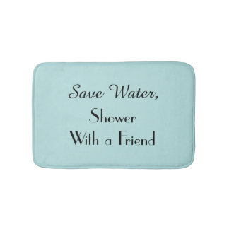 Robins Egg Blue Save Water Funny Plush Bath Mat Bath Mats