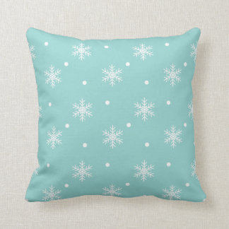 Robins Egg Blue Snowflake Pattern Pillow Throw Cushion