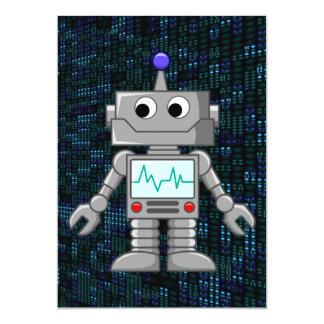 robot cartoon 13 cm x 18 cm invitation card