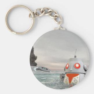 Robot Crash at Sea Basic Round Button Key Ring