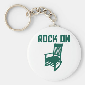 Rock On Basic Round Button Key Ring
