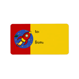 Rocket red yellow Gift Tag Address Label