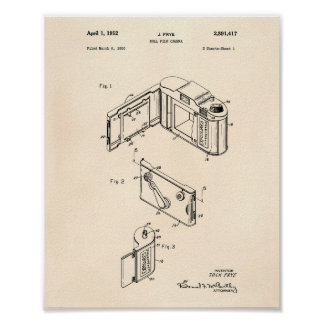 Roll Film Camera 1952 Patent Art - Old Peper Poster