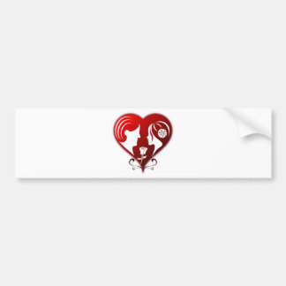 Romance Heart w/ Two Lovers Between Rose Bumper Sticker