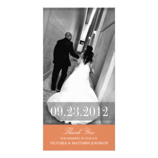 ROMANCE IN ORANGE | WEDDING THANK YOU CARD PERSONALIZED PHOTO CARD