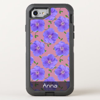 Romantic Blue Garden Flowers Pattern any Text OtterBox Defender iPhone 7 Case