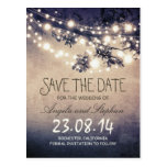 romantic blue night lights rustic save the date postcard
