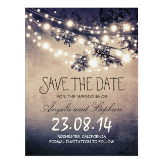 romantic blue night lights rustic save the date postcard