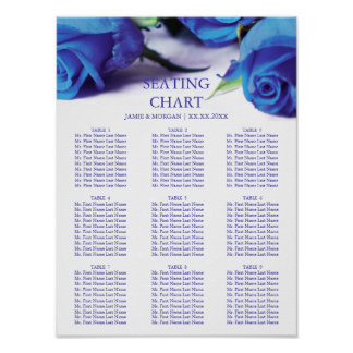 Romantic Blue Roses Wedding Seating Chart Poster