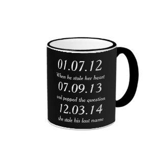 Romantic Moments Personalized Dates Custom Wedding Ringer Mug