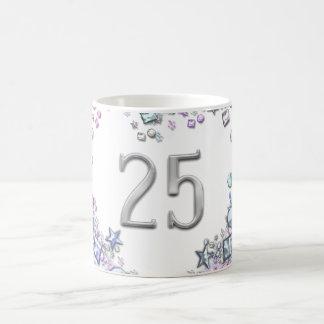 Romantic Number 25 Wedding Birthday Anniversary Basic White Mug