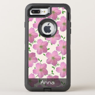 Romantic Pink Garden Flowers Pattern any Text OtterBox Defender iPhone 7 Plus Case